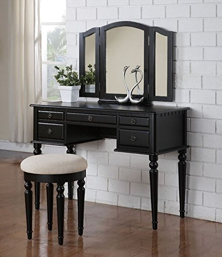 Bobkona F4072 St Croix Collection Vanity Set With Stool