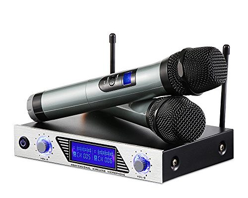 archeer vhf wireless microphone system handheld professional home ktv set with dual channel. Black Bedroom Furniture Sets. Home Design Ideas